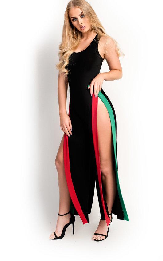 Katya Slinky Sleeveless Split Striped Jumpsuit