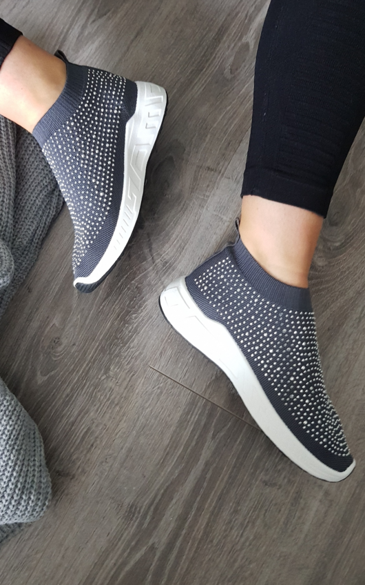 Kay Diamante Embellished Sock Trainers