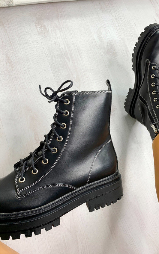 Kaya Faux Leather Biker Boots
