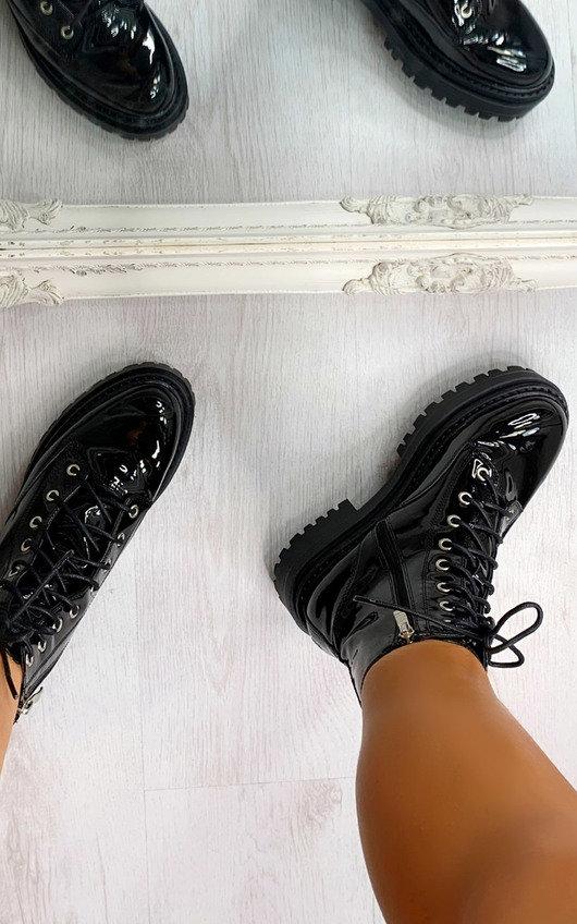 Kaya Faux Leather Patent Biker Boots