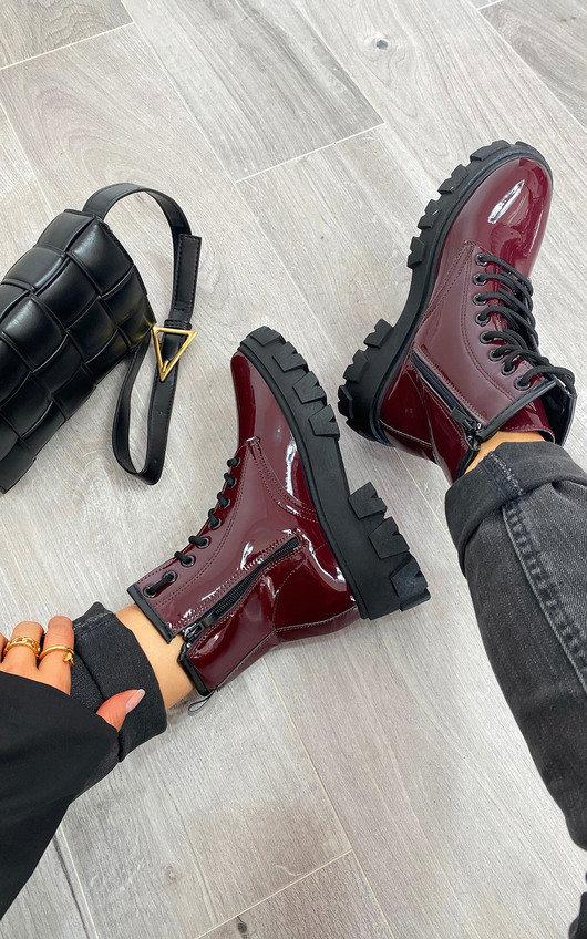 Kayla Faux Leather Patent Biker Boots