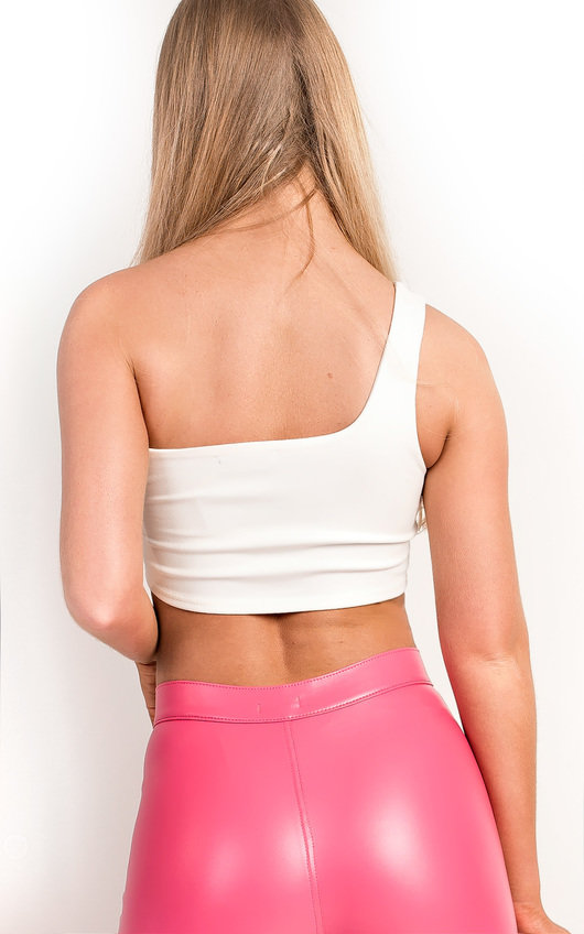 9053215192f6f6 Kaylee One Shoulder Slinky Crop Top in White | ikrush
