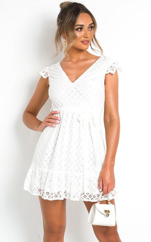 Kaz Crochet Lace Mini Dress