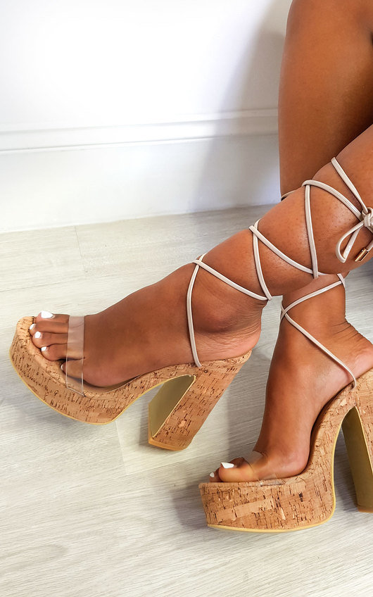Keira Cork Lace Up Platform Heels