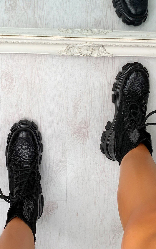 Keira Croc Print Sock Style Biker Boots