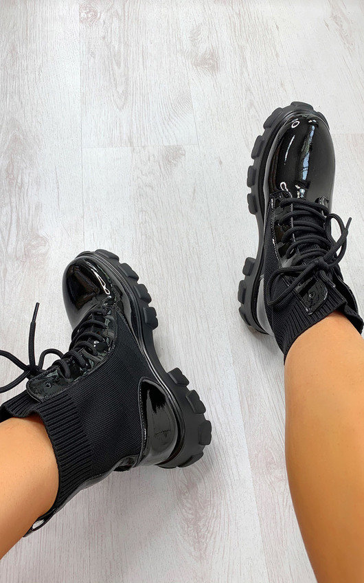Keira Faux Leather Sock Style Biker Boots