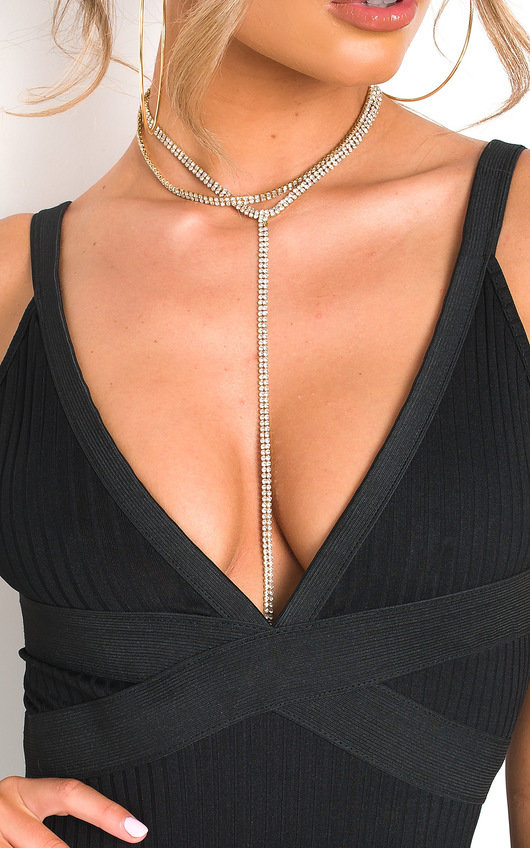 Kelli Diamante Tie Long Necklace