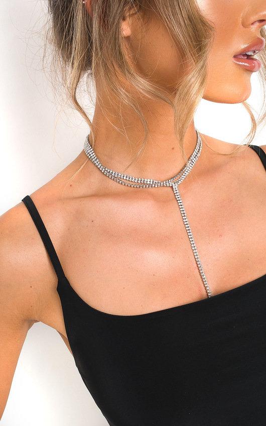 Kelli Diamante Tie Long Necklace