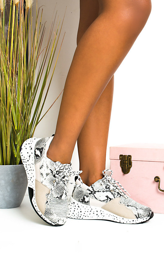 Kelli Snake Print Chunky Speckled Trainers