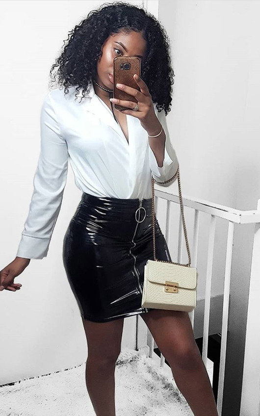 Kelli Wet Look Ring Zipped Skirt