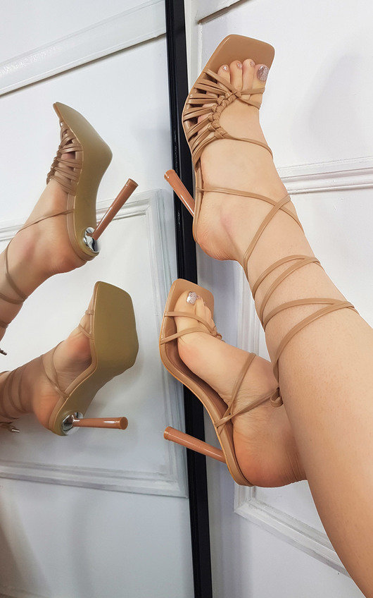 Kelly Faux Leather Lace Up High Heels