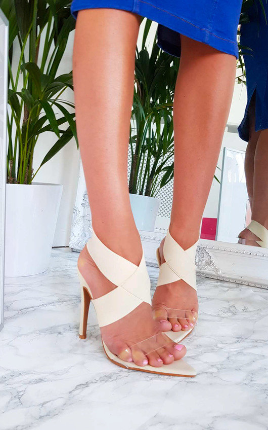 Kelsey Stretch Strap Slip On Heel