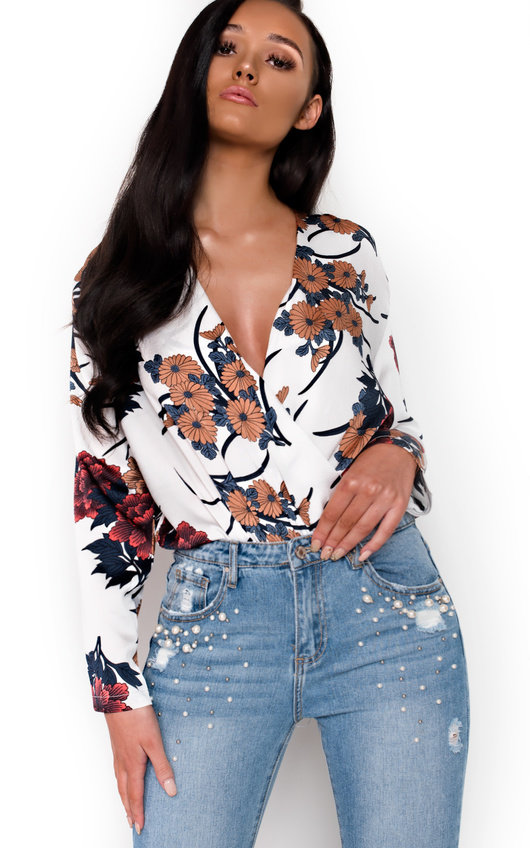 Kelsie Plunge Floral Bodysuit