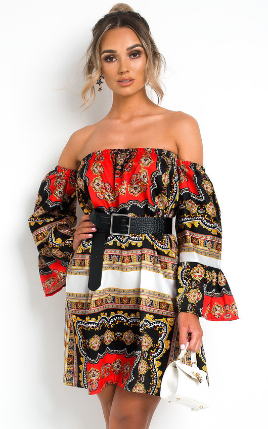 Kendra Off Shoulder Printed Dress