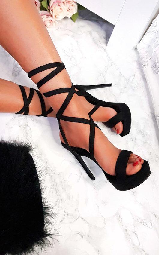 Kennedy Lace Up Peep Toe Heels