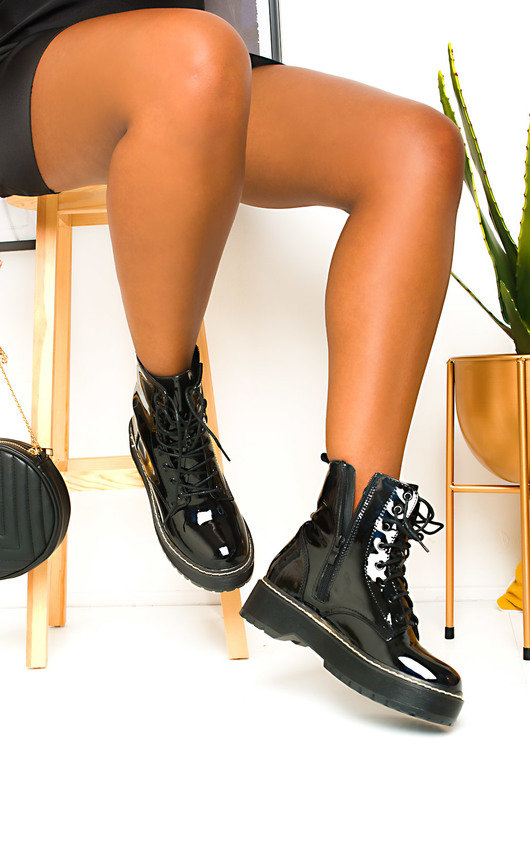 Kenny Lace Up Biker Boots