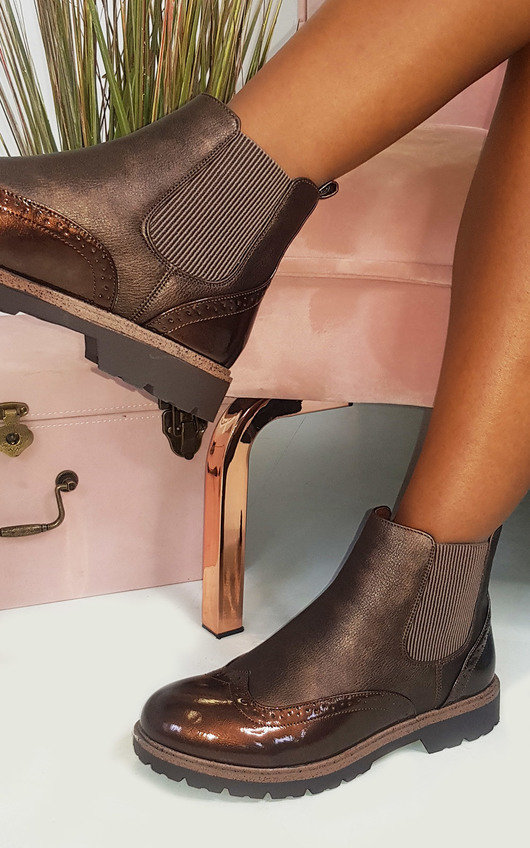 Kensie Faux Leather Brogue Chelsea Boots