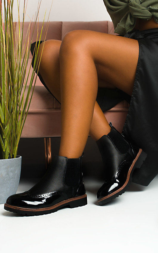 Katie Faux Leather Brogue Chelsea Boots