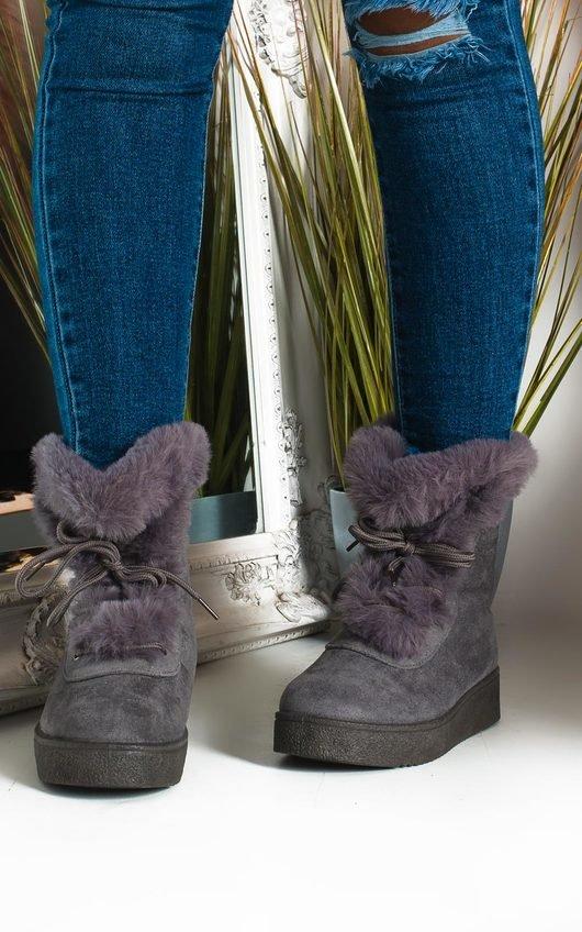 Keren Faux Fur Lace Up Ankle Boots