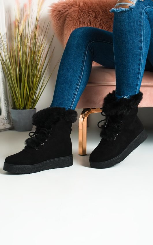 Keren Faux Fur Lace Up Ankle Boots