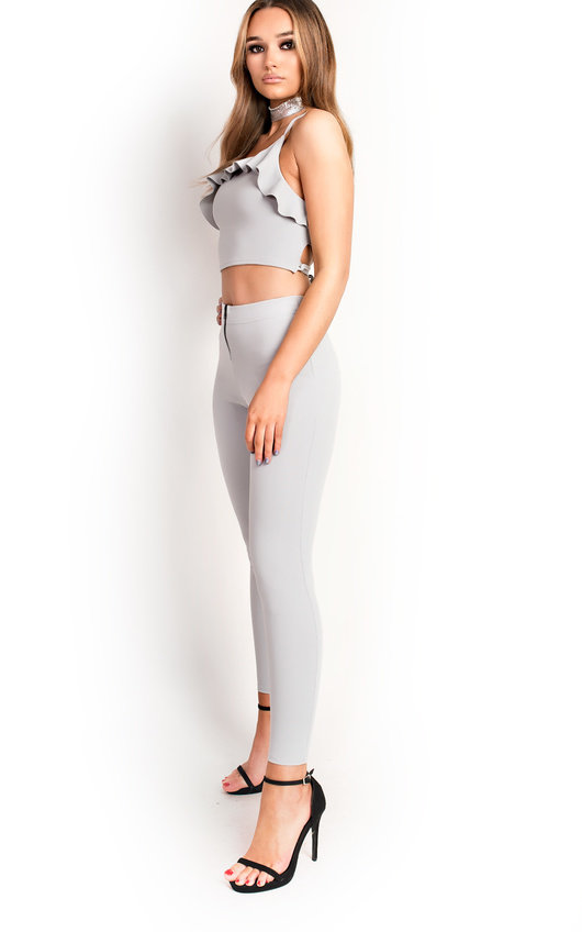 Kharlie Frill Crossover Cropped Co-ord