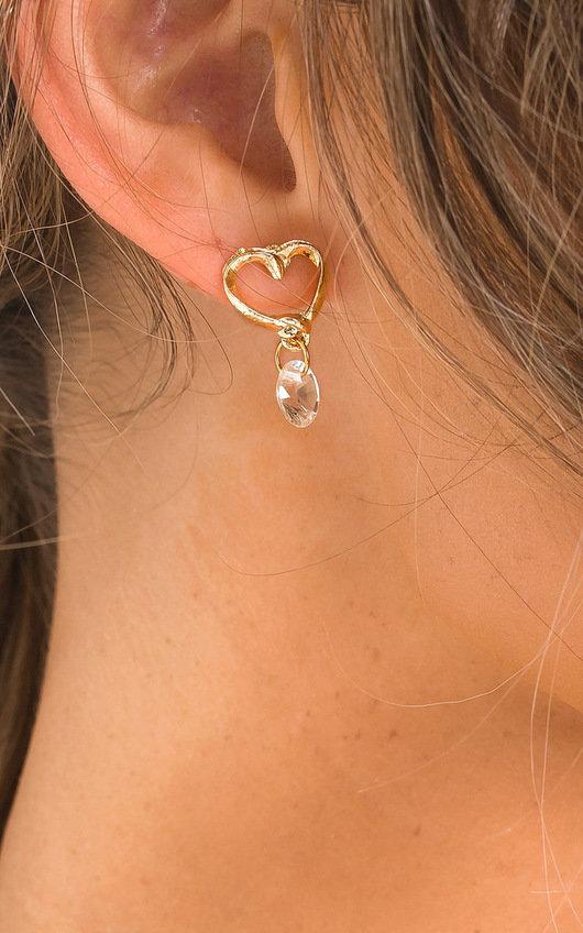 Kiki Heart Drop Diamante Earrings