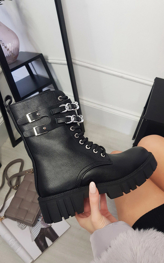 Kim Faux Leather Ankle Boot with Chain Detail