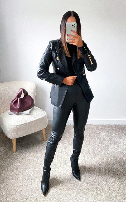 Kim Faux Leather Blazer Jacket