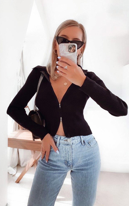 Kim Knitted Zipped Front Top