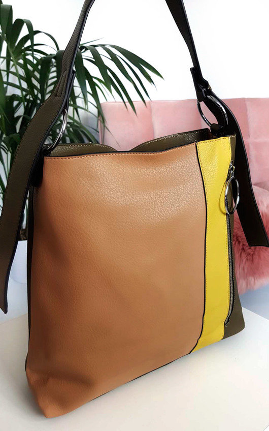 Kimberly Colour Block Tote Handbag