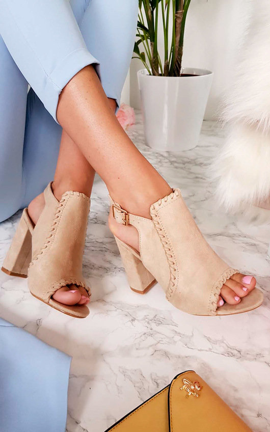 Kimberly Suede Peep Toe Heels