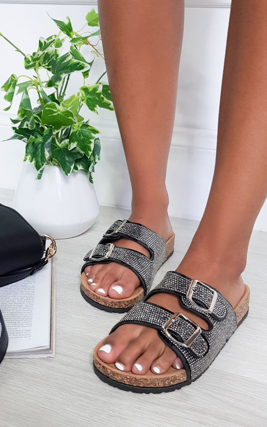 Kimmi Diamante Embellished Buckle Sliders