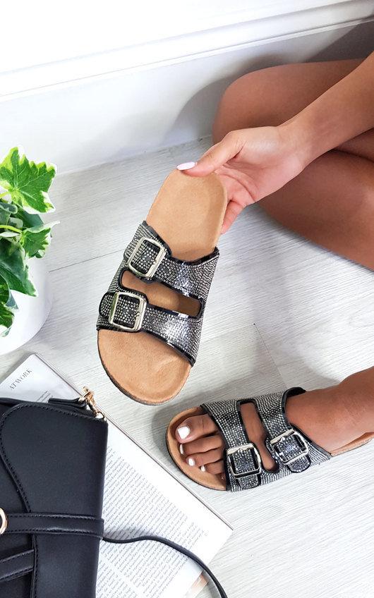 Kimmi Diamante Embellished Buckle Sliders
