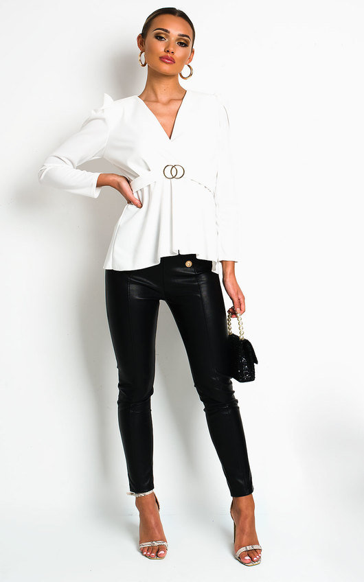 Kimmie Puff Sleeve Belted Blouse Top