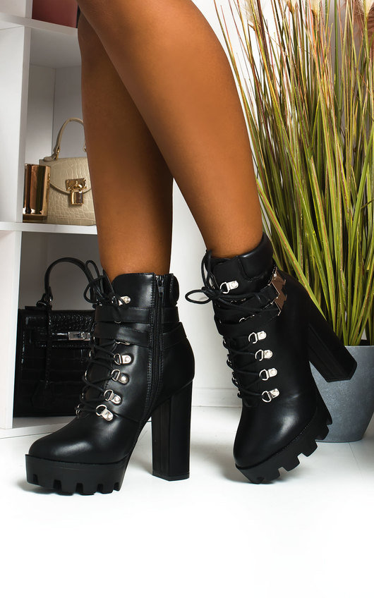 Kimmy Lace Up Platform Heeled Boots