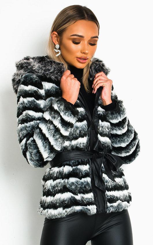 Kira Faux Fur Striped Jacket