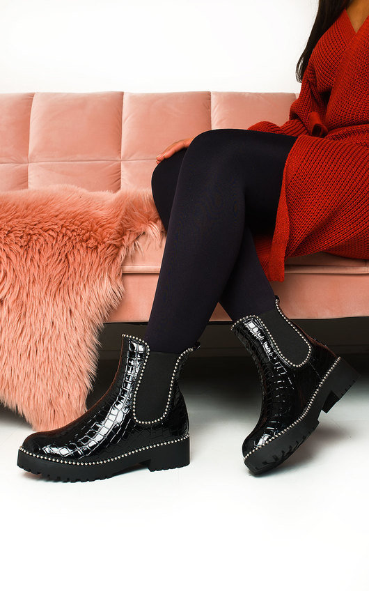 Kirstee Croc Print Patent Ankle Boots