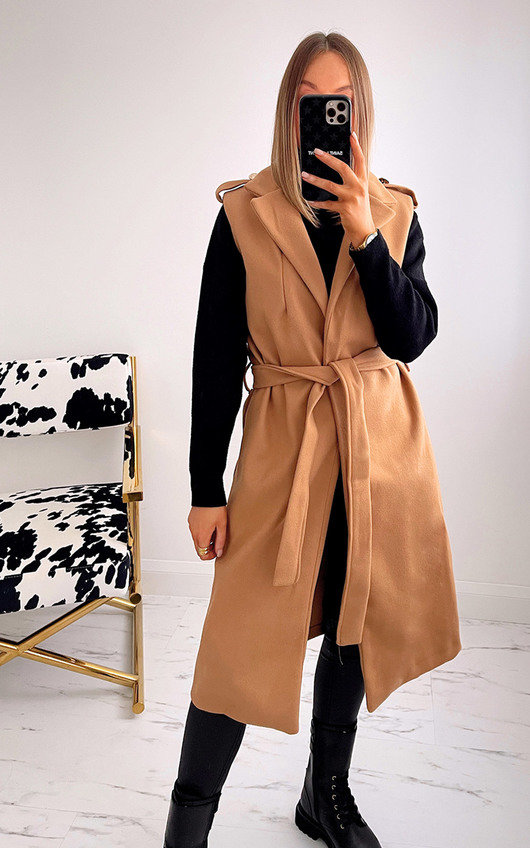 Kirsty Sleeveless Jacket with Belt Detail