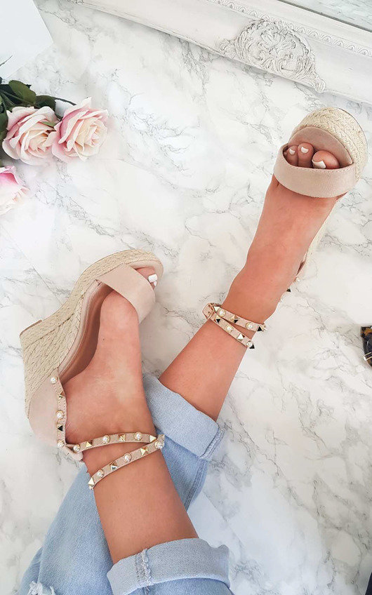 Klaire Studded Embellished Wedged Heels