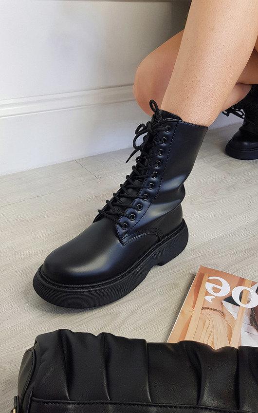 Koko Lace Up Zipped Chunky Mid Calf Boots
