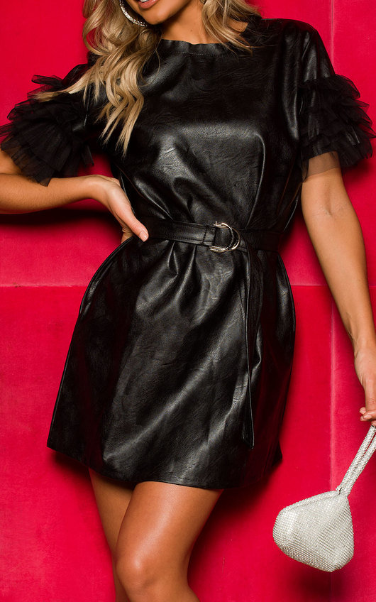 Kolina Faux Leather Mesh Sleeve Dress