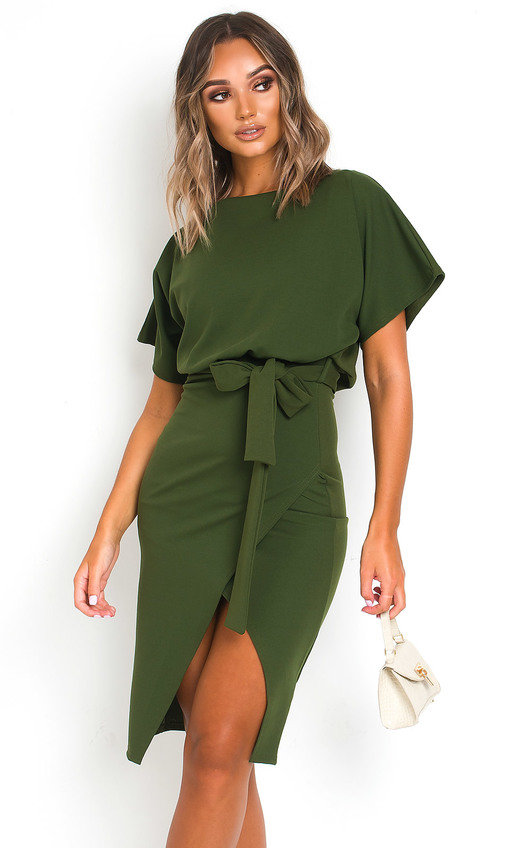 Koni Tie Waist Batwing Midi Dress