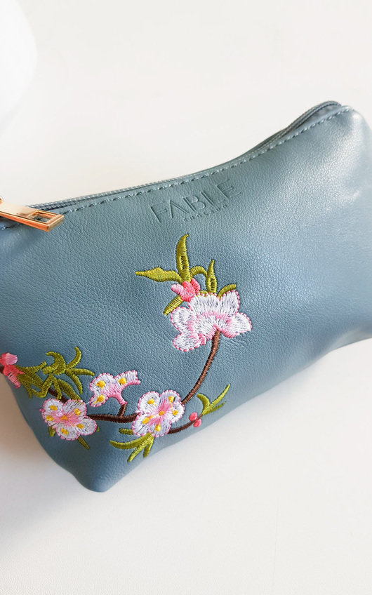 Kora Flower Print Embroidered Pouch Bag