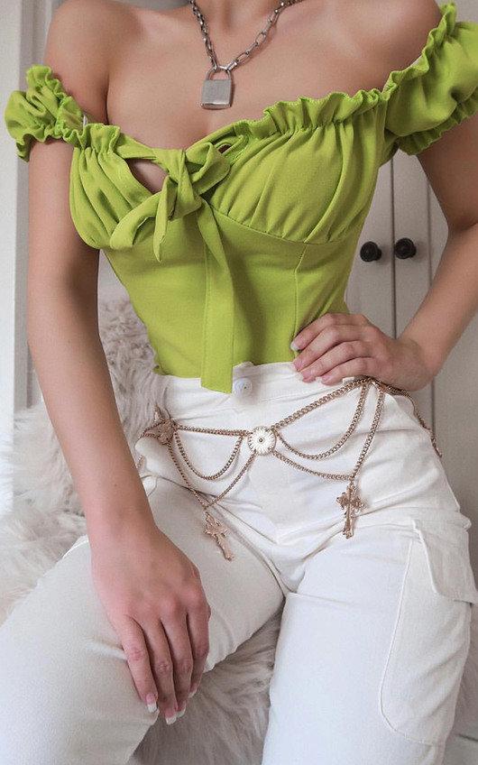 Kora Frill Bardot Tie Crop Top