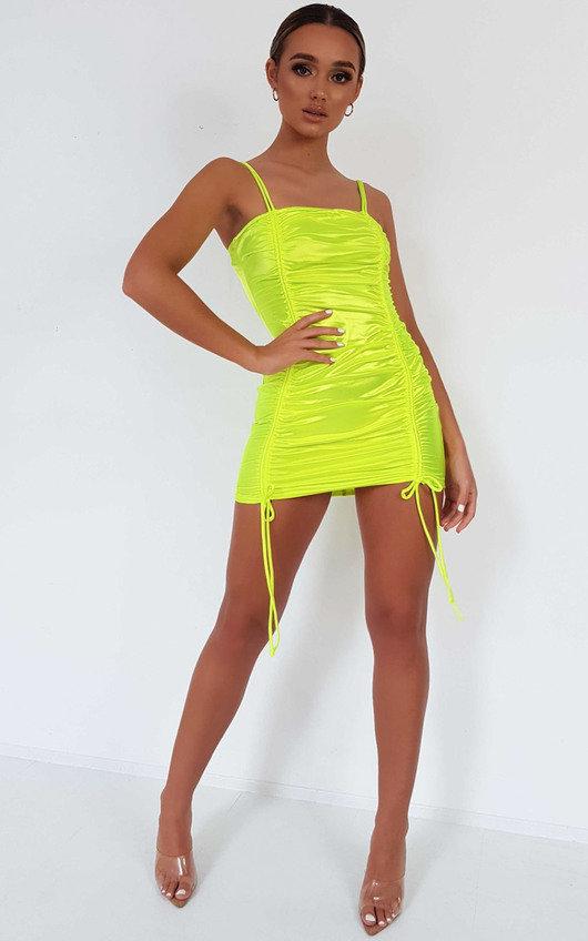 Kourt Satin Ruched Tie Mini Dress
