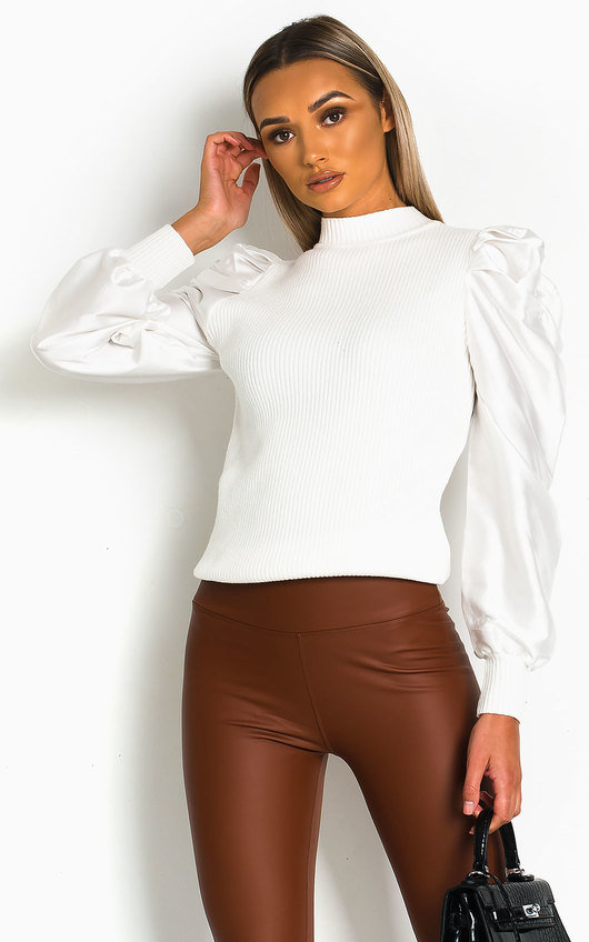 Kristy Puffed Satin Sleeve Jumper