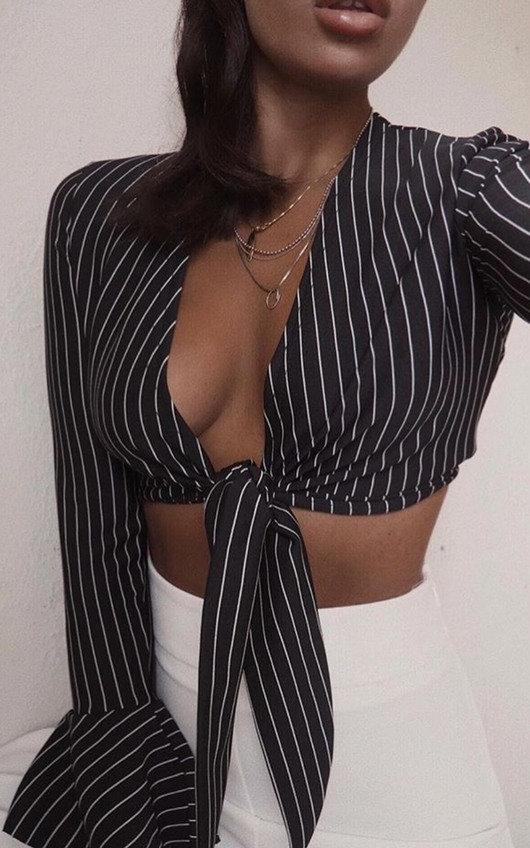 Kristy Striped Tie Crop Blouse
