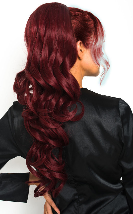 Kyla Long Curly Ponytail Hair Extensions - Curly Burgundy