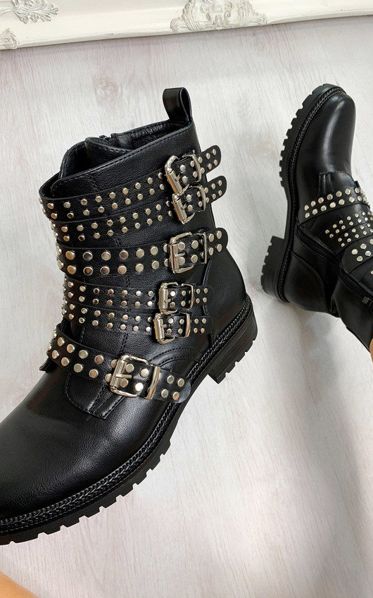Kylie Buckle Studded Ankle Boots