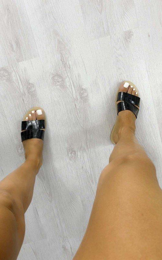 Kylie Croc Print Sandals